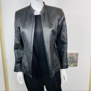 BCBG Sz S  Black Leather Jacket